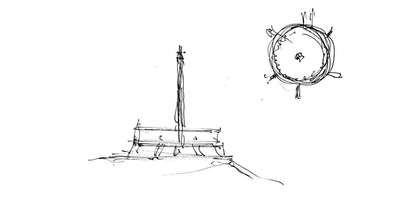 2. Georgi Stoilov wins the contest with his design for a ring on six columns, around a tower bearing the red star.