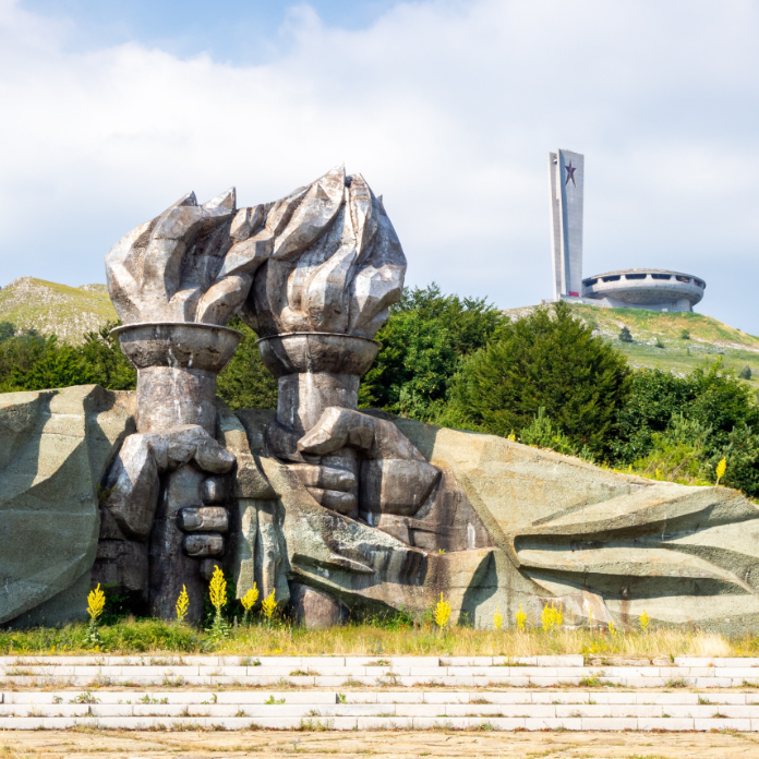 Looking up towards Buzludzha through Stoyu Todorov's monument 'Two Epochs: Shipka-Buzludzha' (1981).