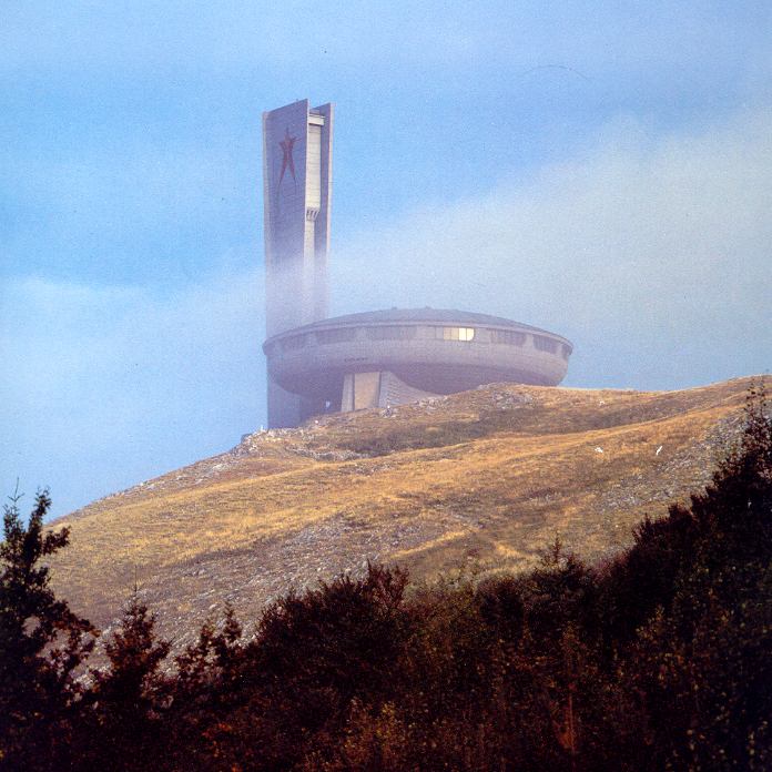 General View. Exterior. Mist envelopes the Buzludzha Memorial House, 1981.