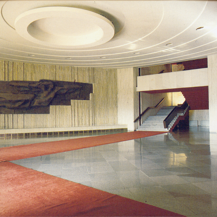 Fragment. Interior. Sculptural composition 'The Victory' (1981), by Velitchkov Minekov